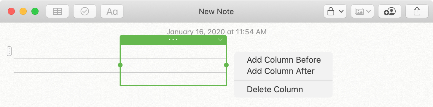 Add Column Table Notes Mac