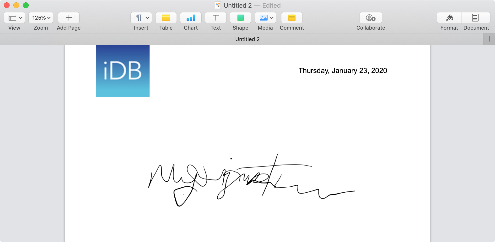 Add Signature Image Pages Mac