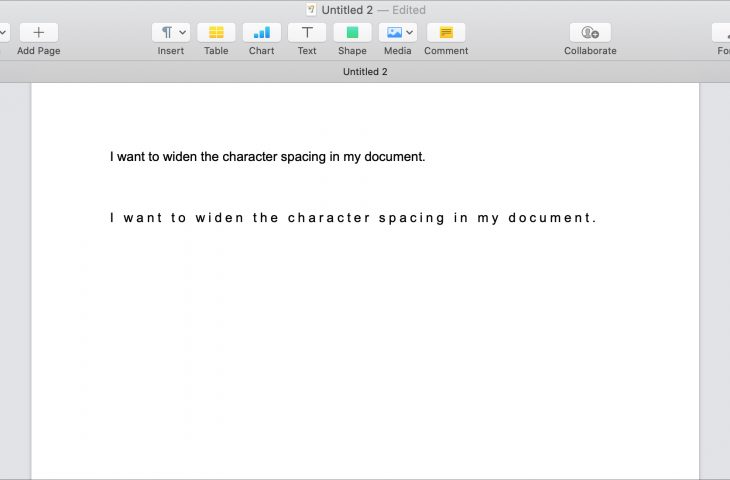 Adjust character spacing in pages mac 730x480