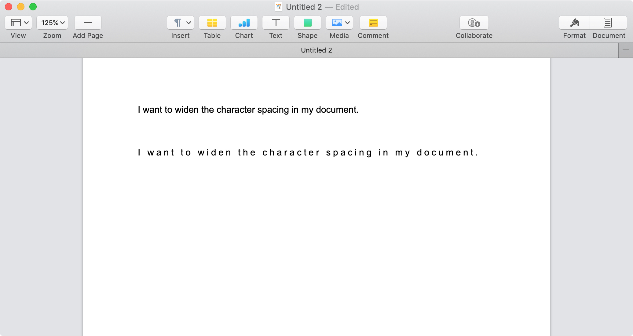 Adjust Character Spacing in Pages Mac