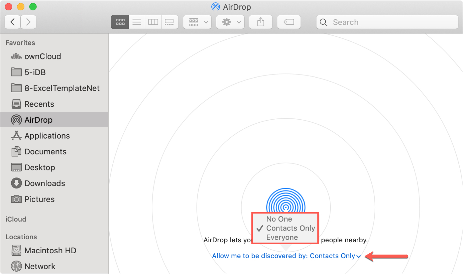 AirDrop Settings Mac