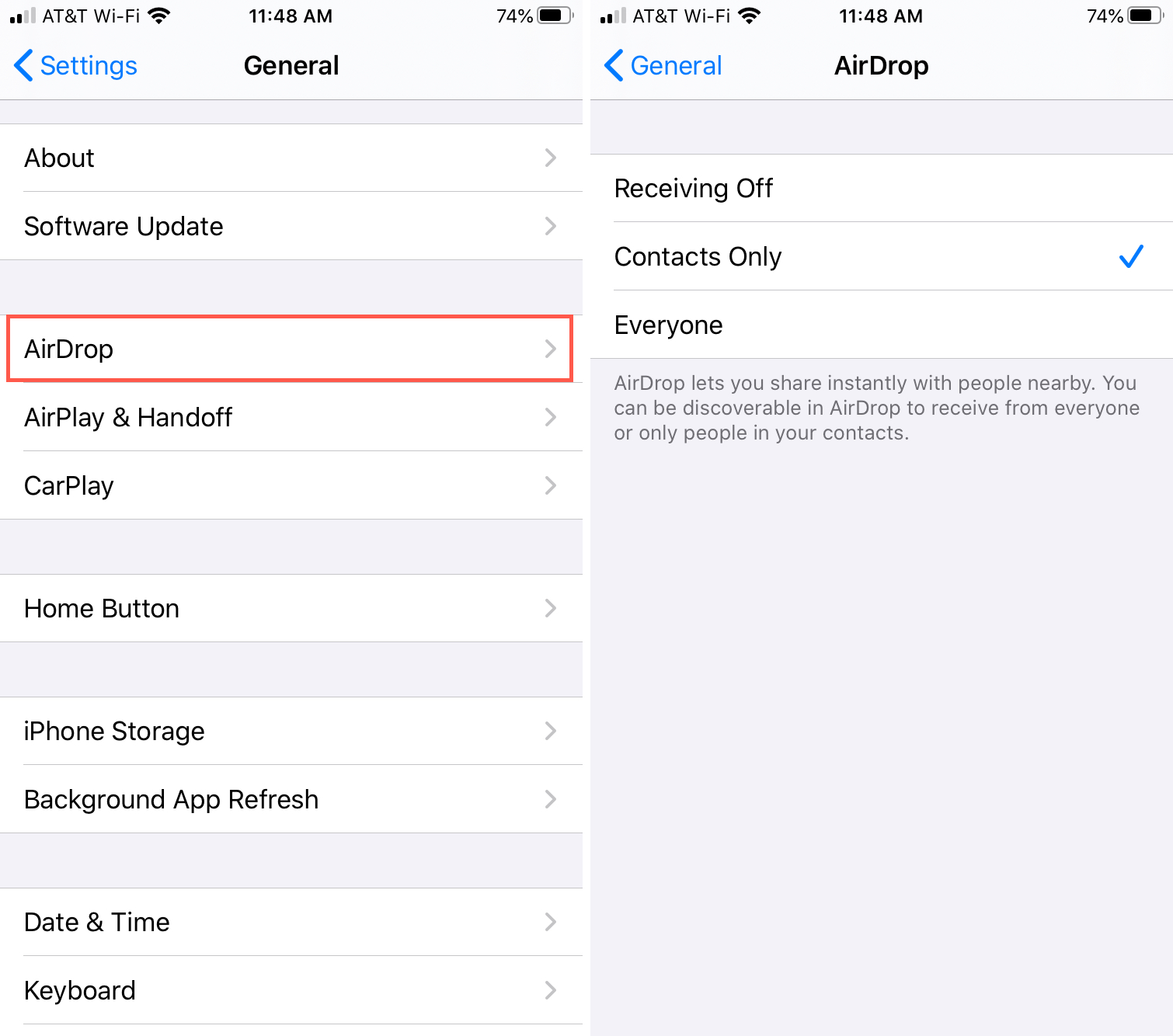 AirDrop Settings iPhone