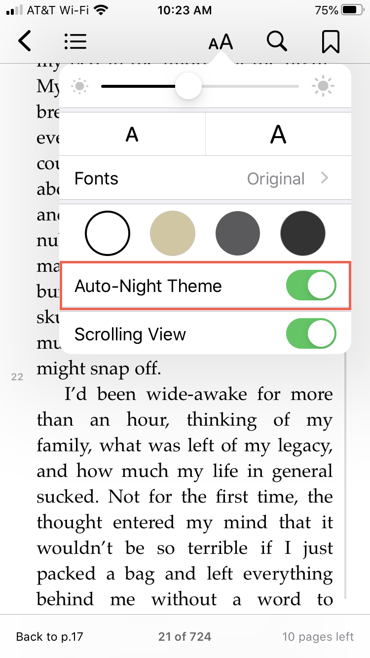 Books Auto-Night Theme iPhone