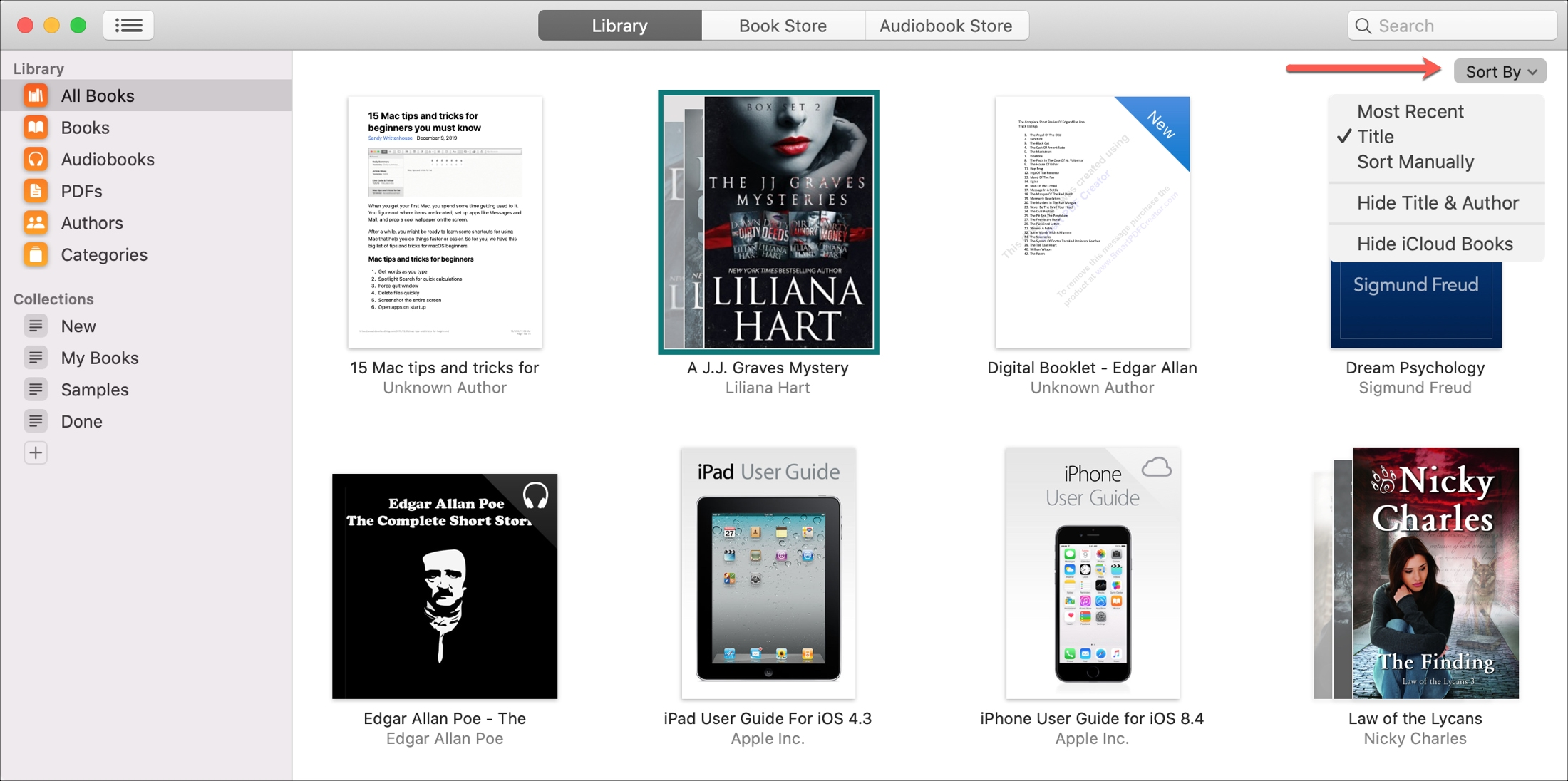 Apple Books library Mac Sort By