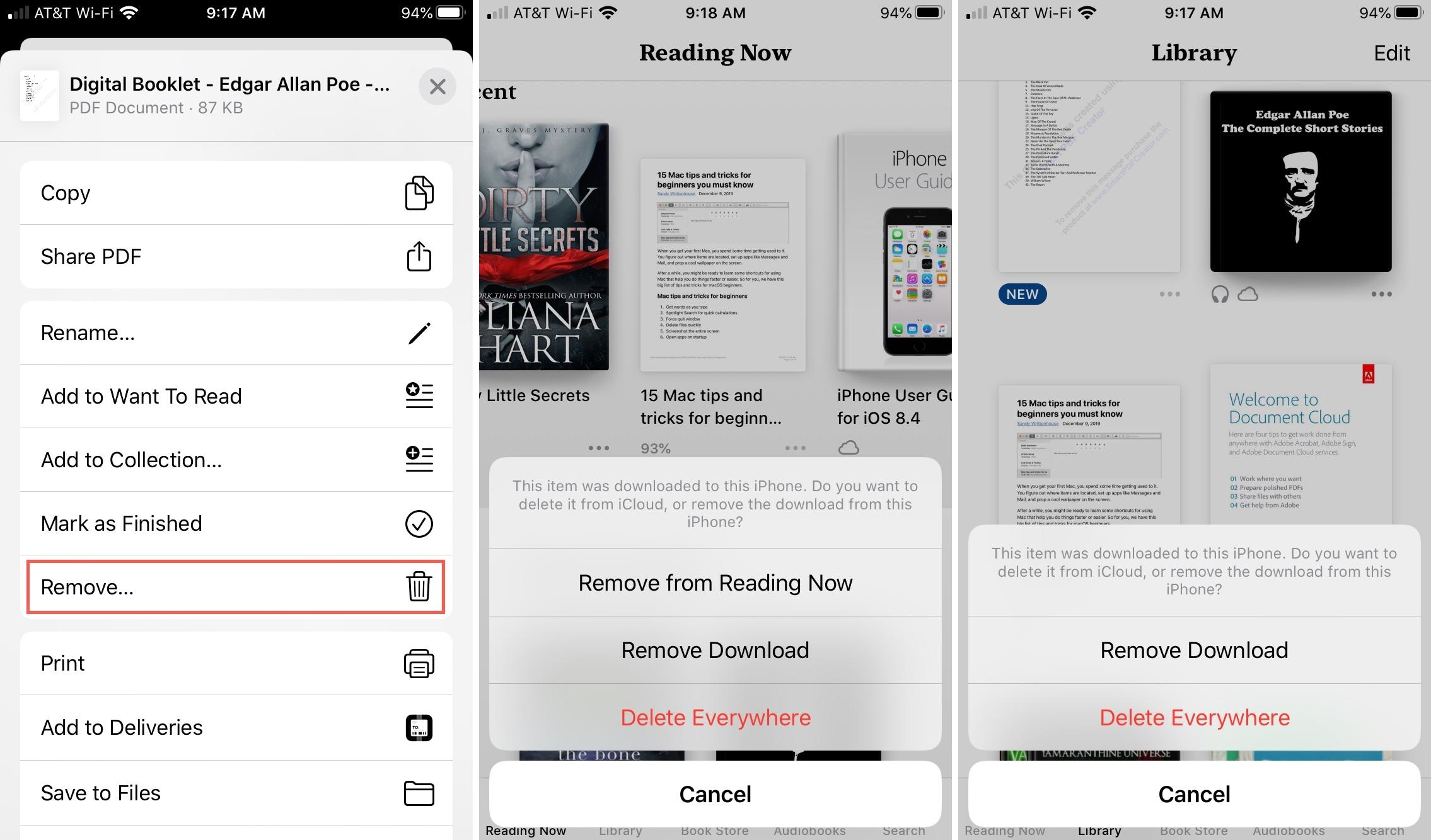 Books iPhone Delete Confirm