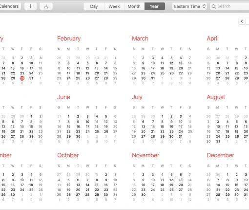 Calendar Mac Year View