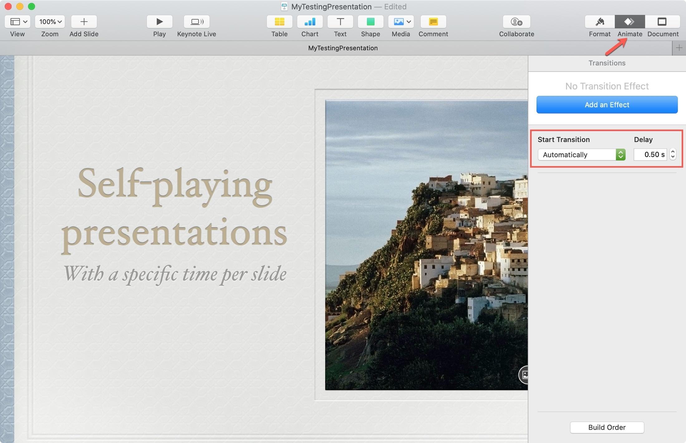 Change Slide Timing Keynote Mac
