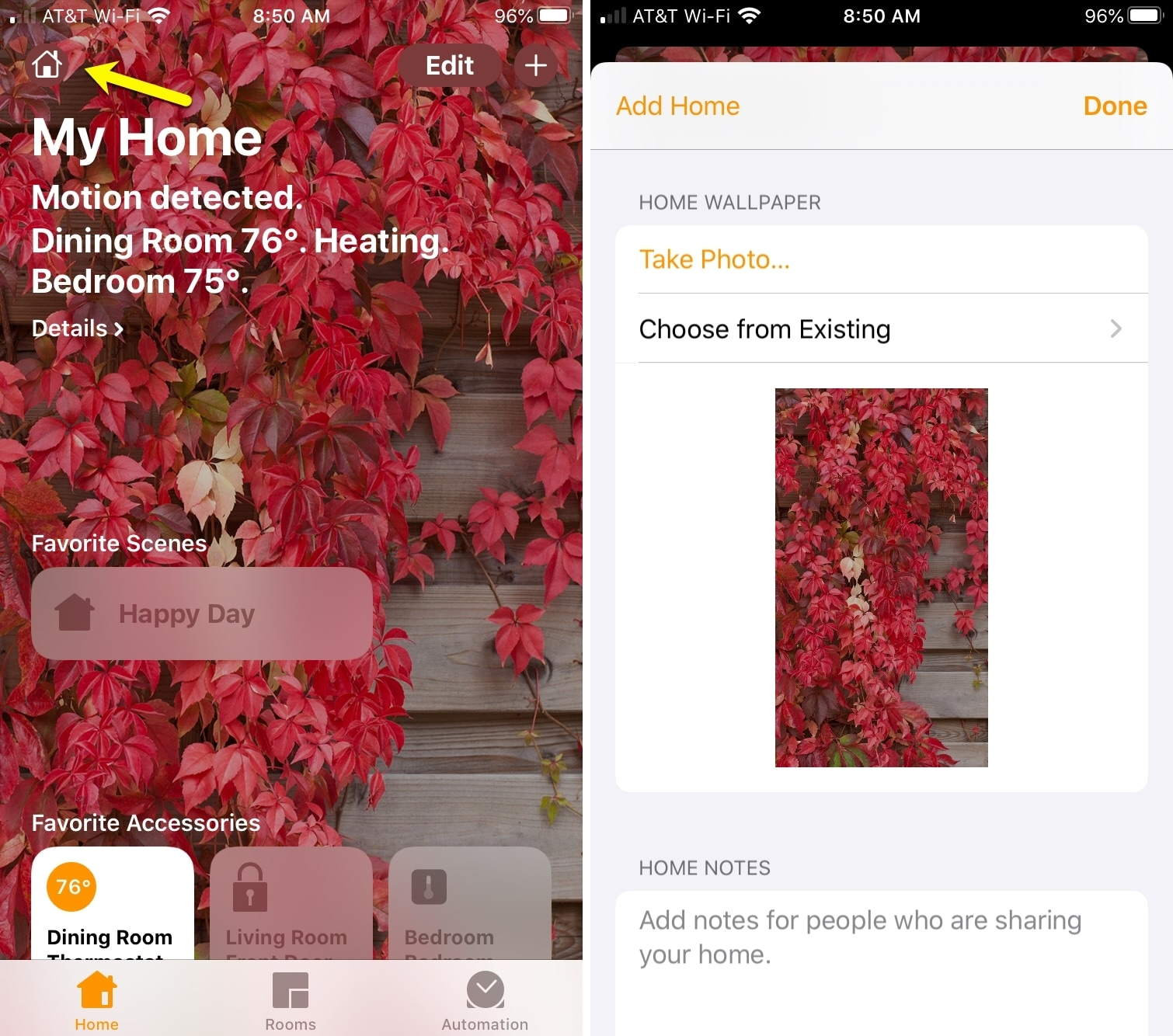 Choose Home app wallpaper