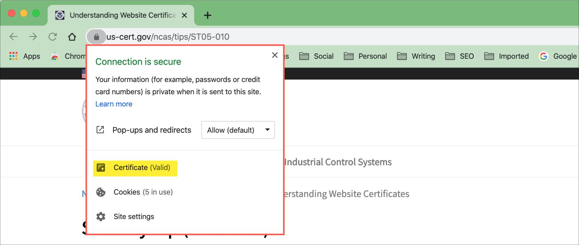 Chrome Click Padlock Info