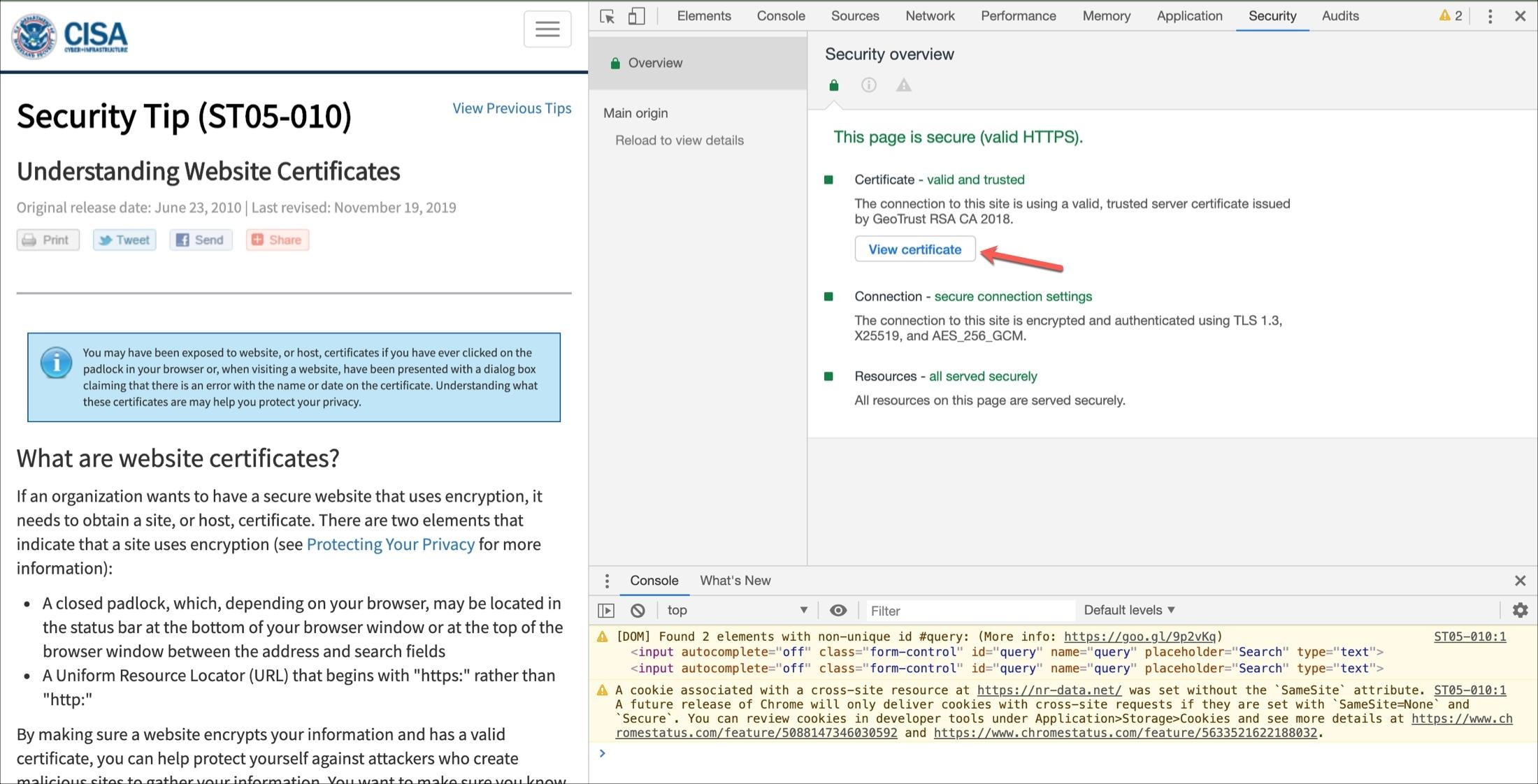 Chrome View Certificate Developer