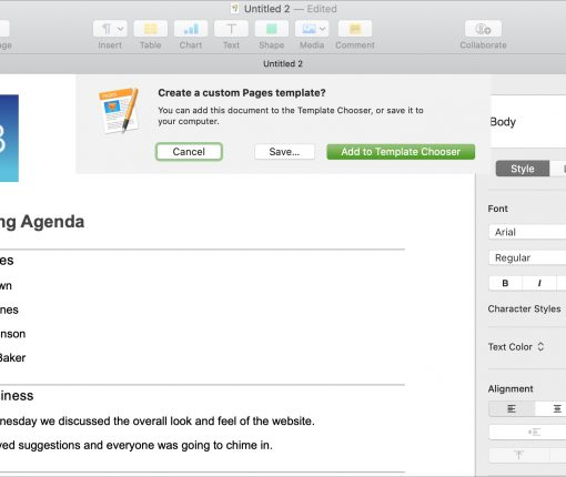 Create Custom Template in Pages Mac