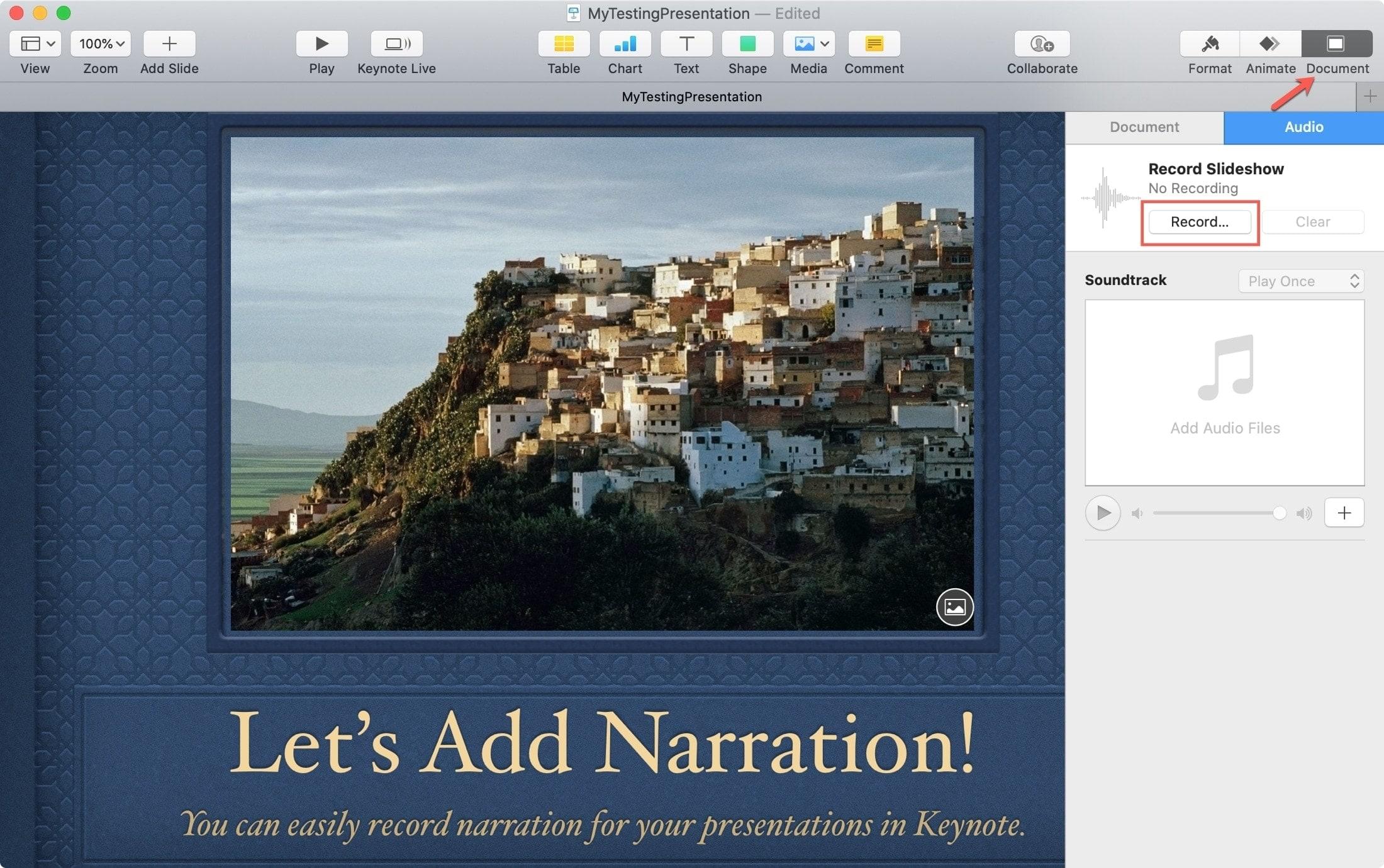 Document Record Keynote Mac