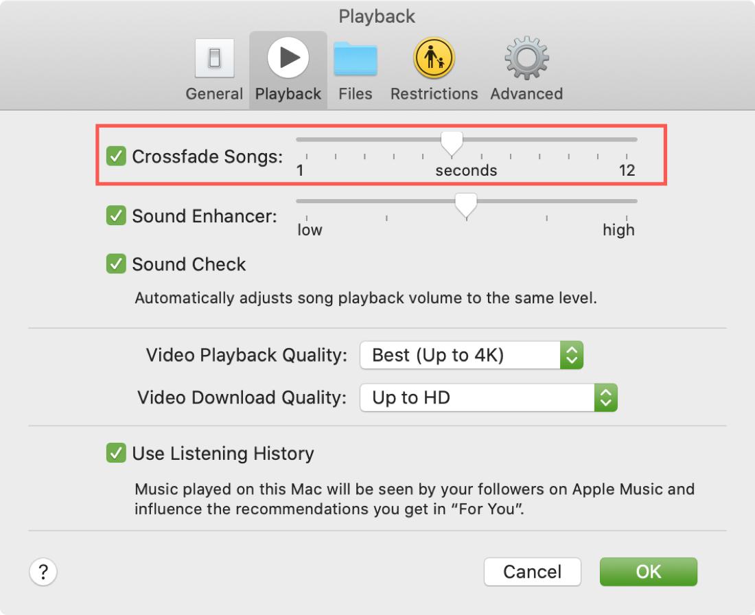 Enable Crossfade Songs Music Mac