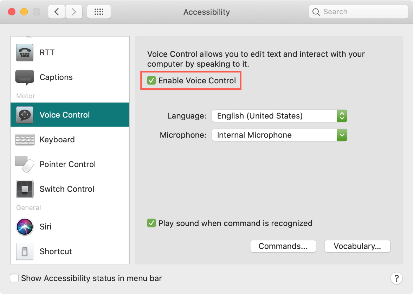 Enable Voice Control Mac