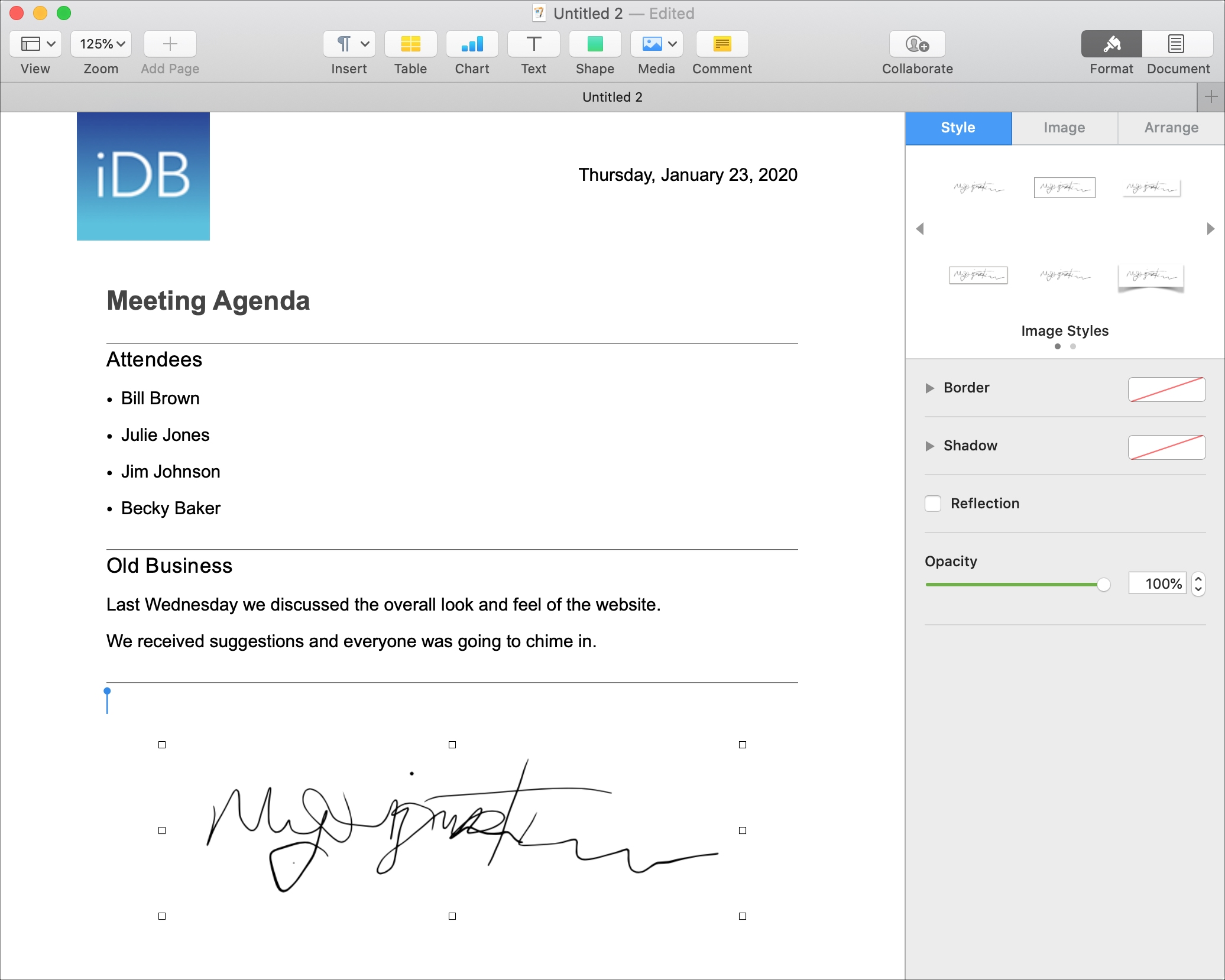 How to add a signature in Apple Pages on Mac