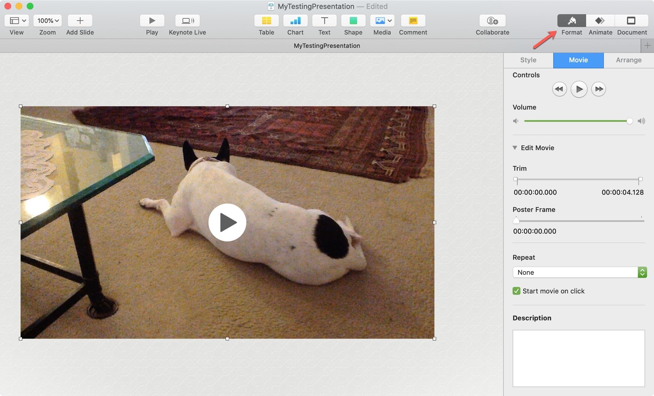Format Video Keynote Mac