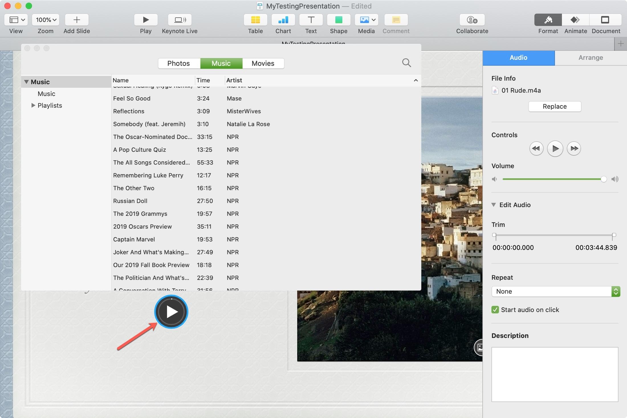 Keynote Slide Music Mac