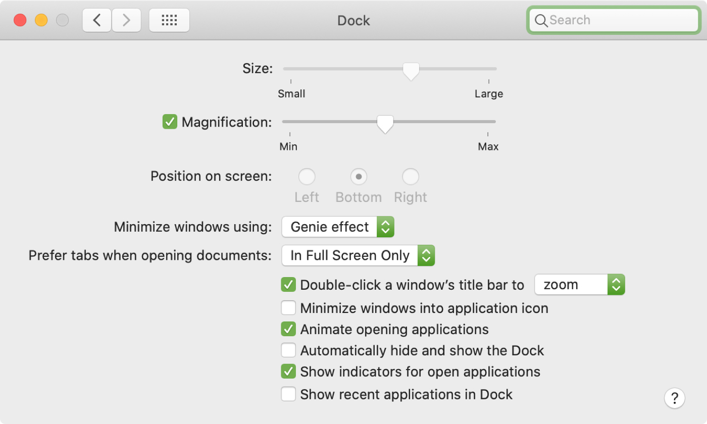 Lock Dock Mac System Preferences