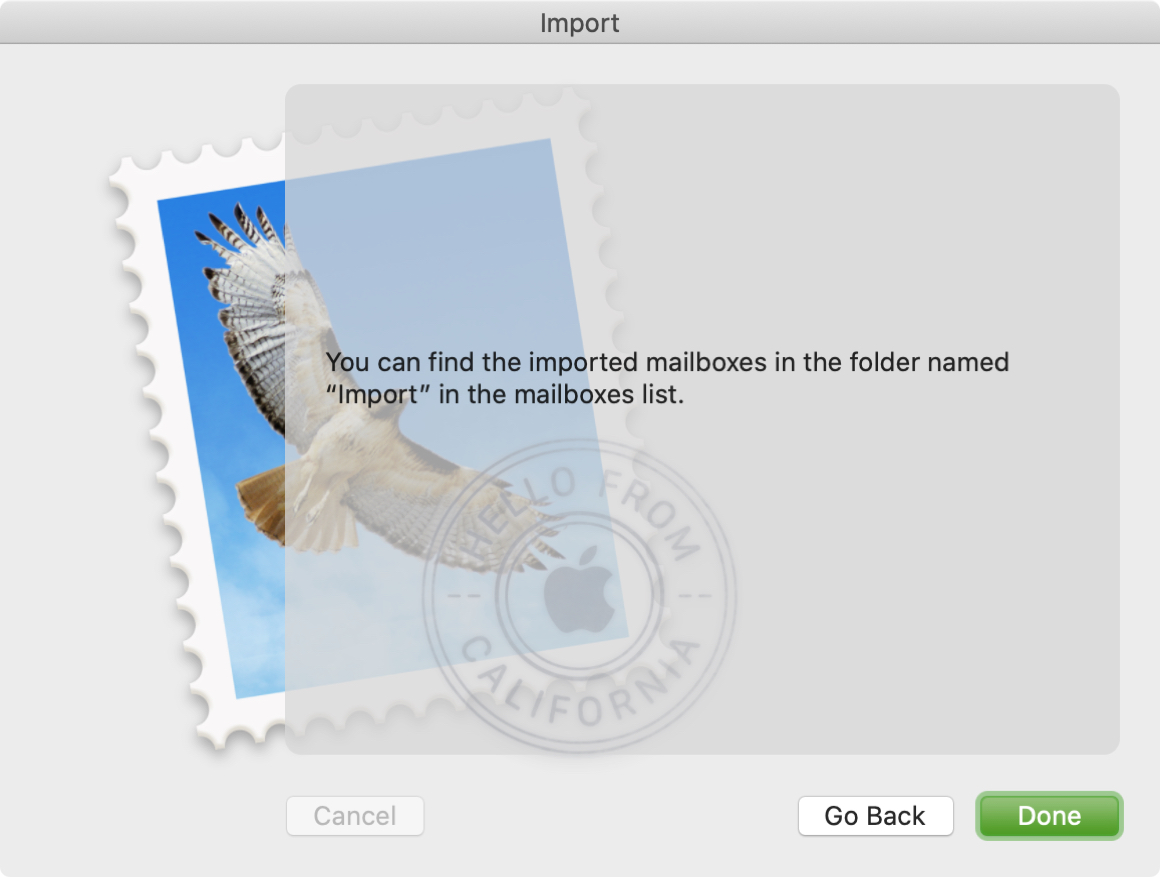 Mailbox Import Confirm Message Mac