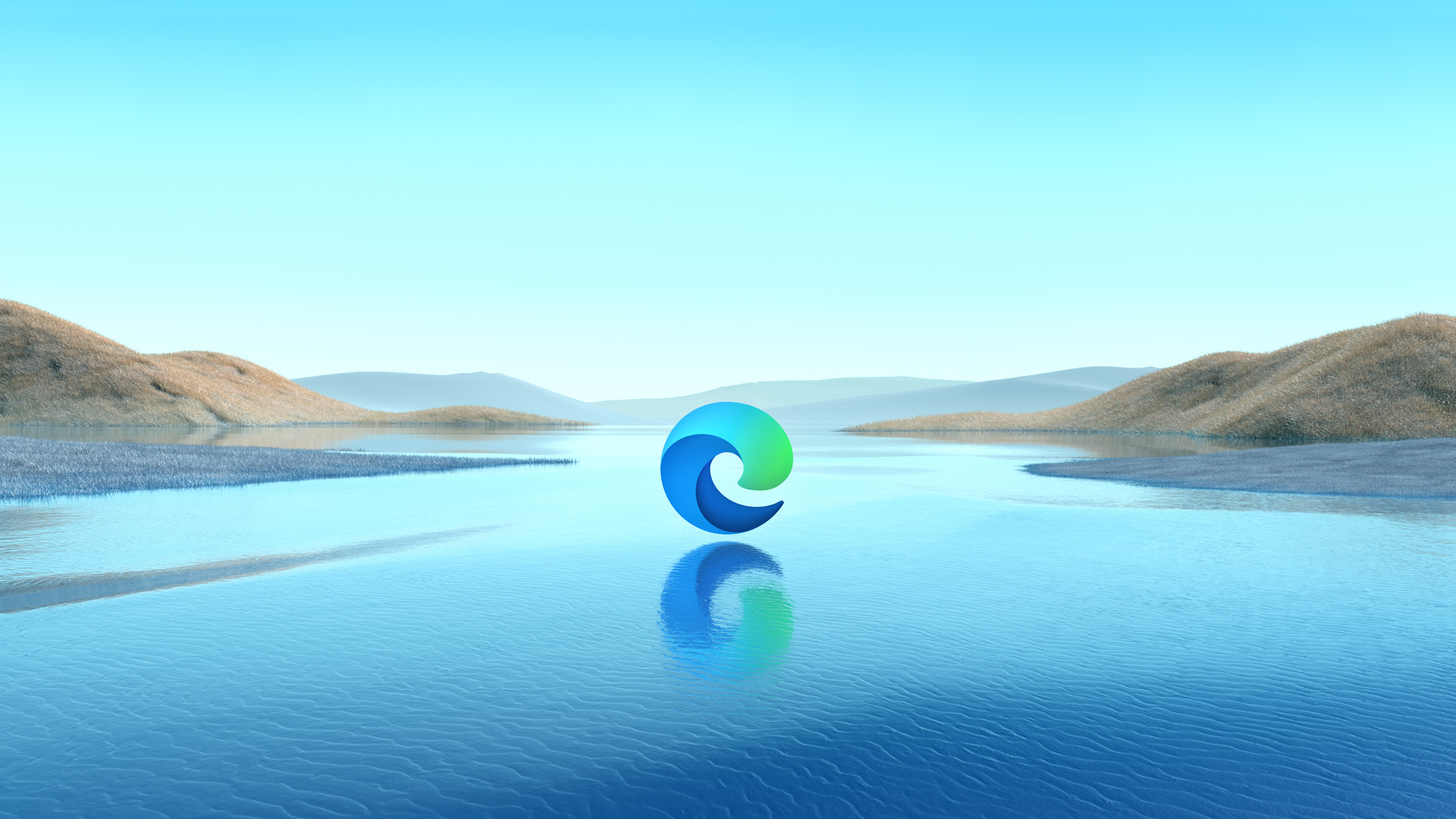Promotional graphics showing a Microsoft Edge logo on water