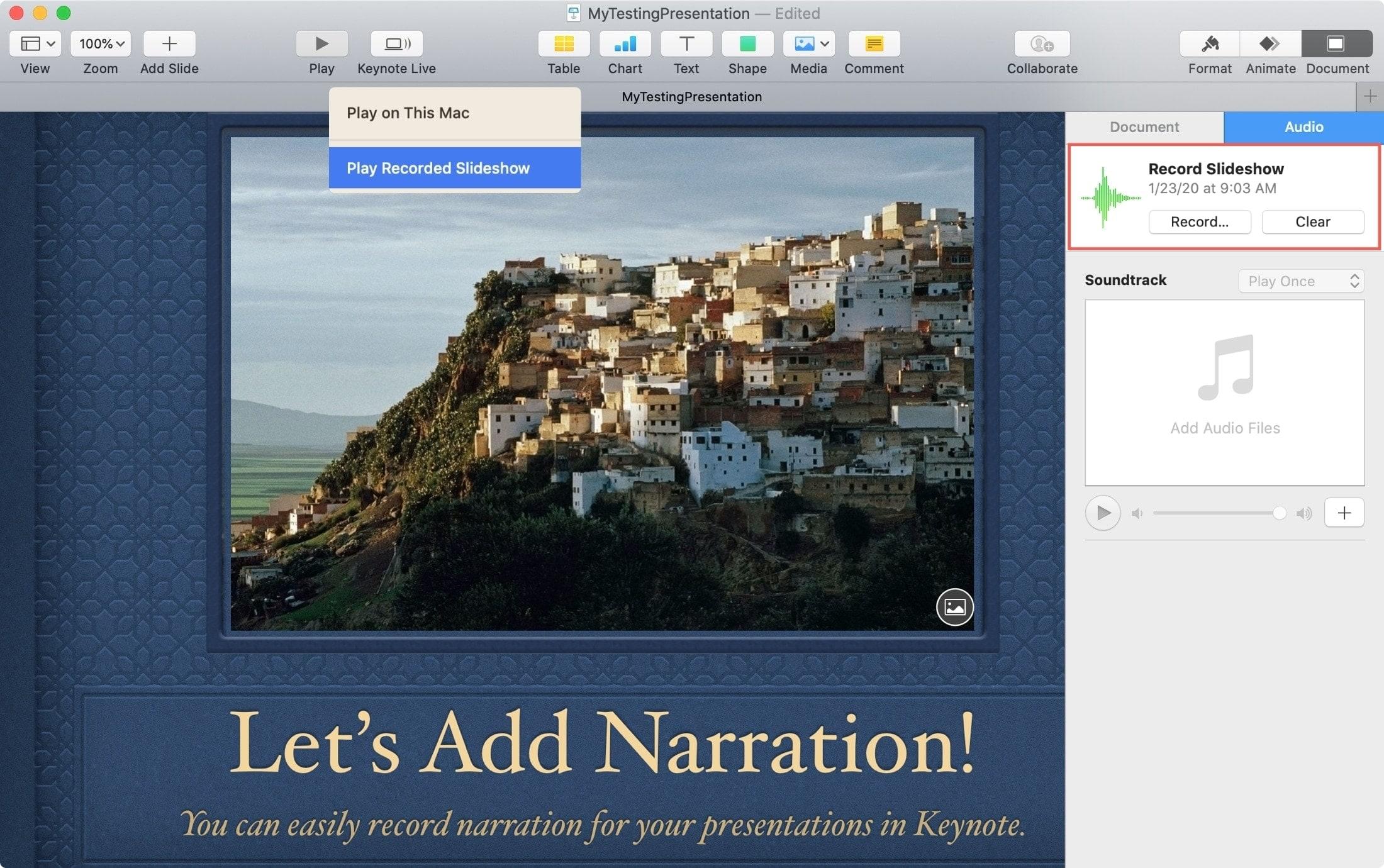 Play Recorded Slideshow Keynote Mac