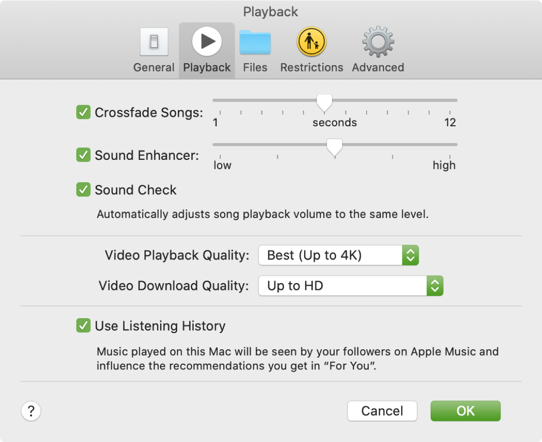 Playback Crossfade Songs Music Mac