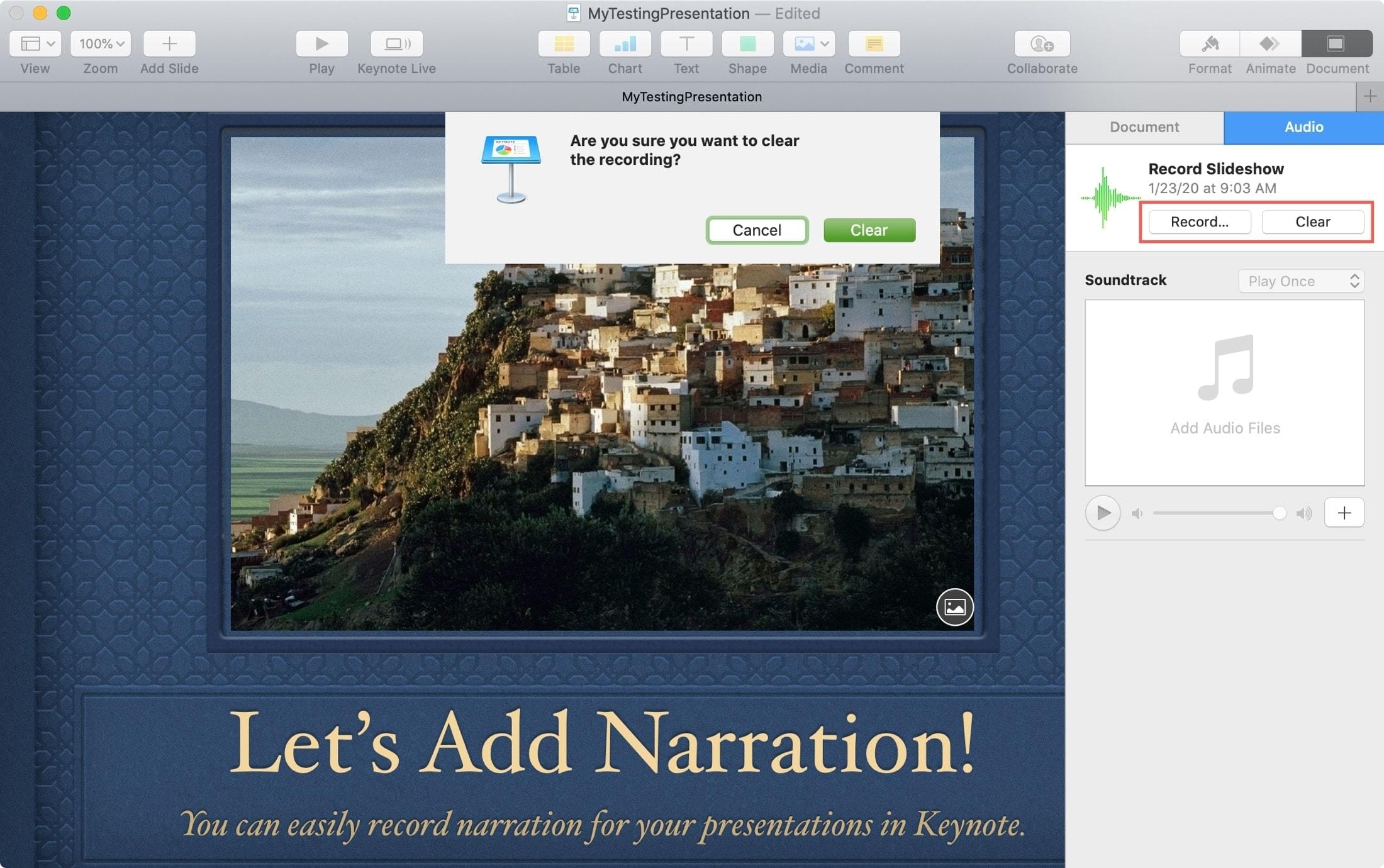 Rerecord Clear Narration Keynote Mac