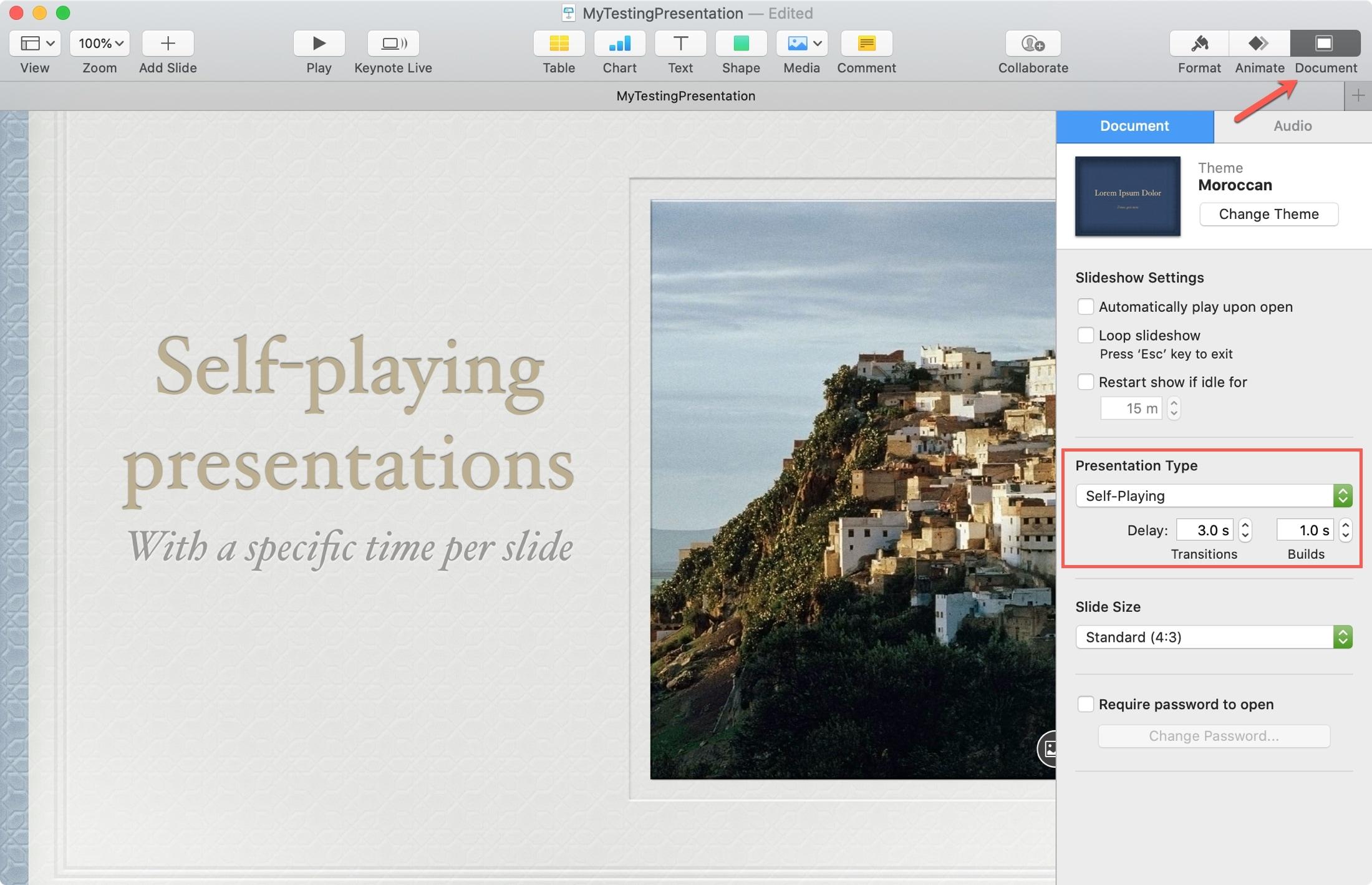 Self-play Slide Timing Keynote Mac