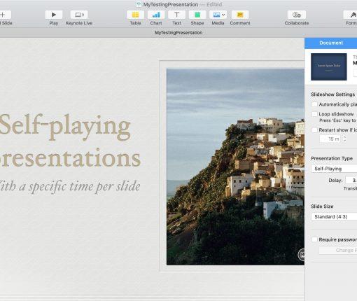 Self-playing Presentation Keynote Mac