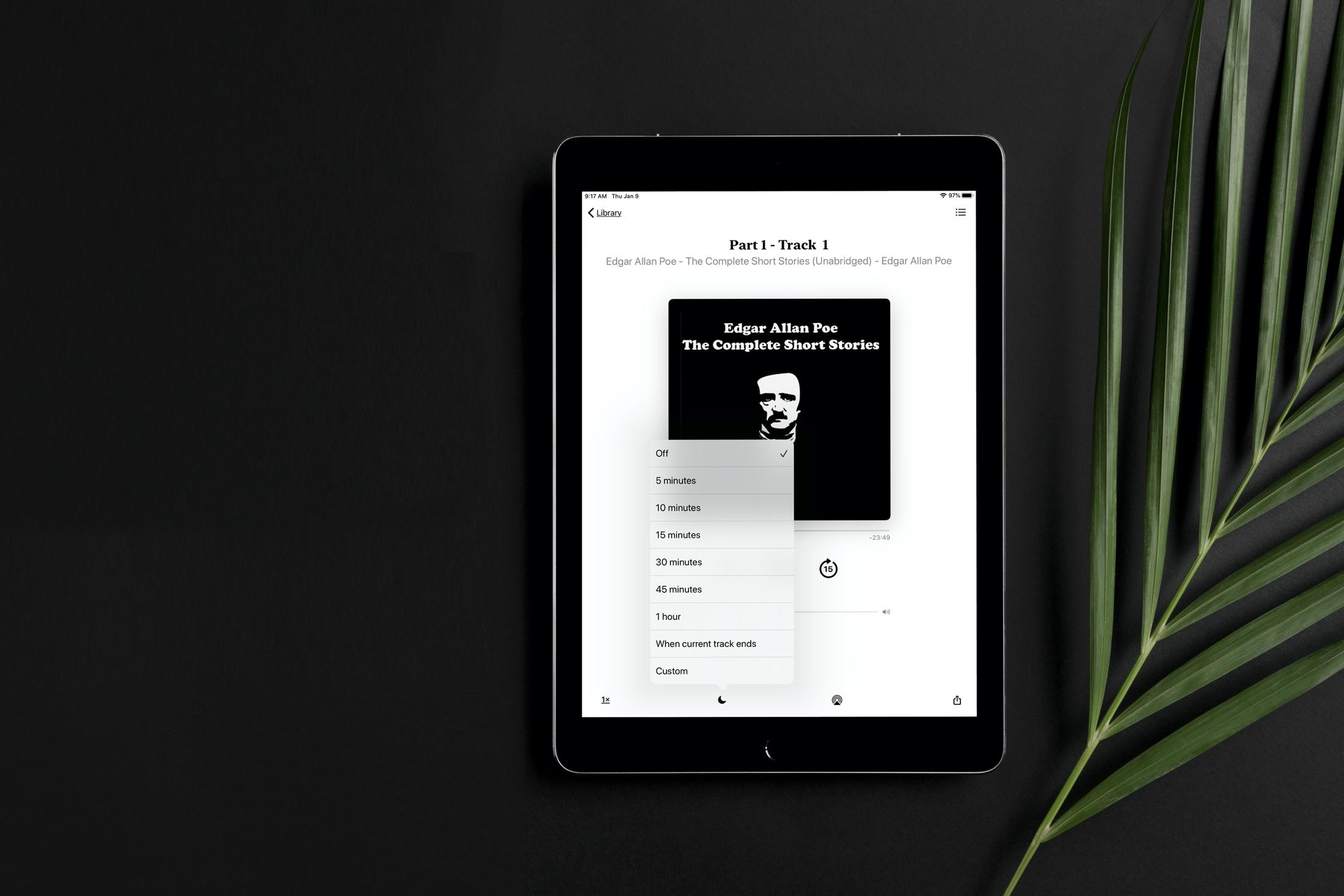 Set Sleep Timer Books app iPad