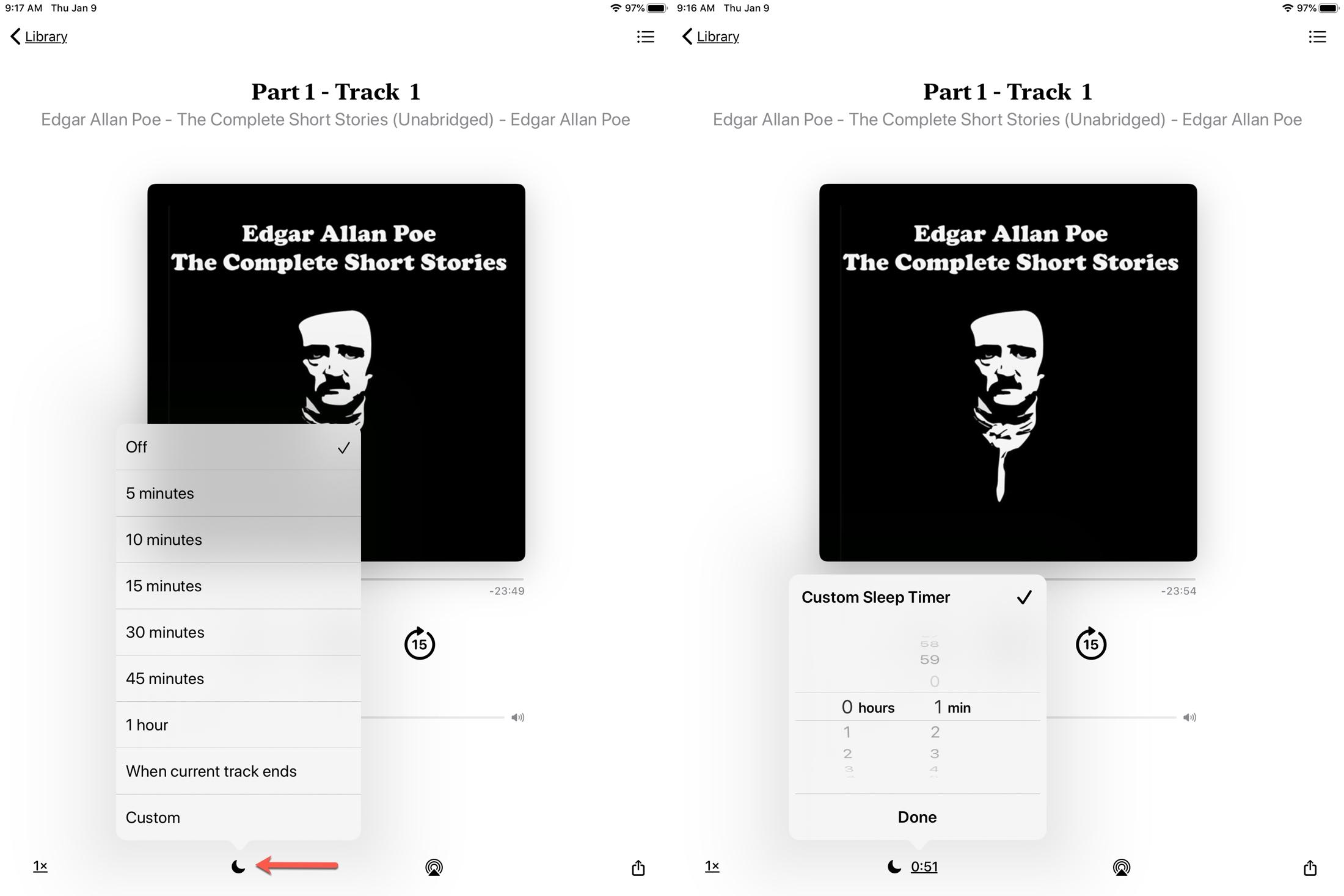 Set Sleep Timer Books iPad