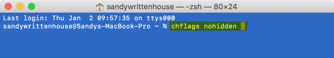 Terminal Command Unhide File Folder