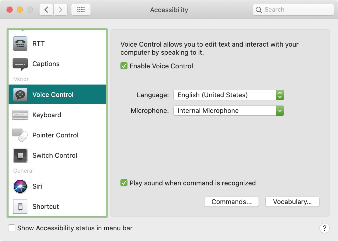 Voice Control Preferences Mac Commands Vocabulary