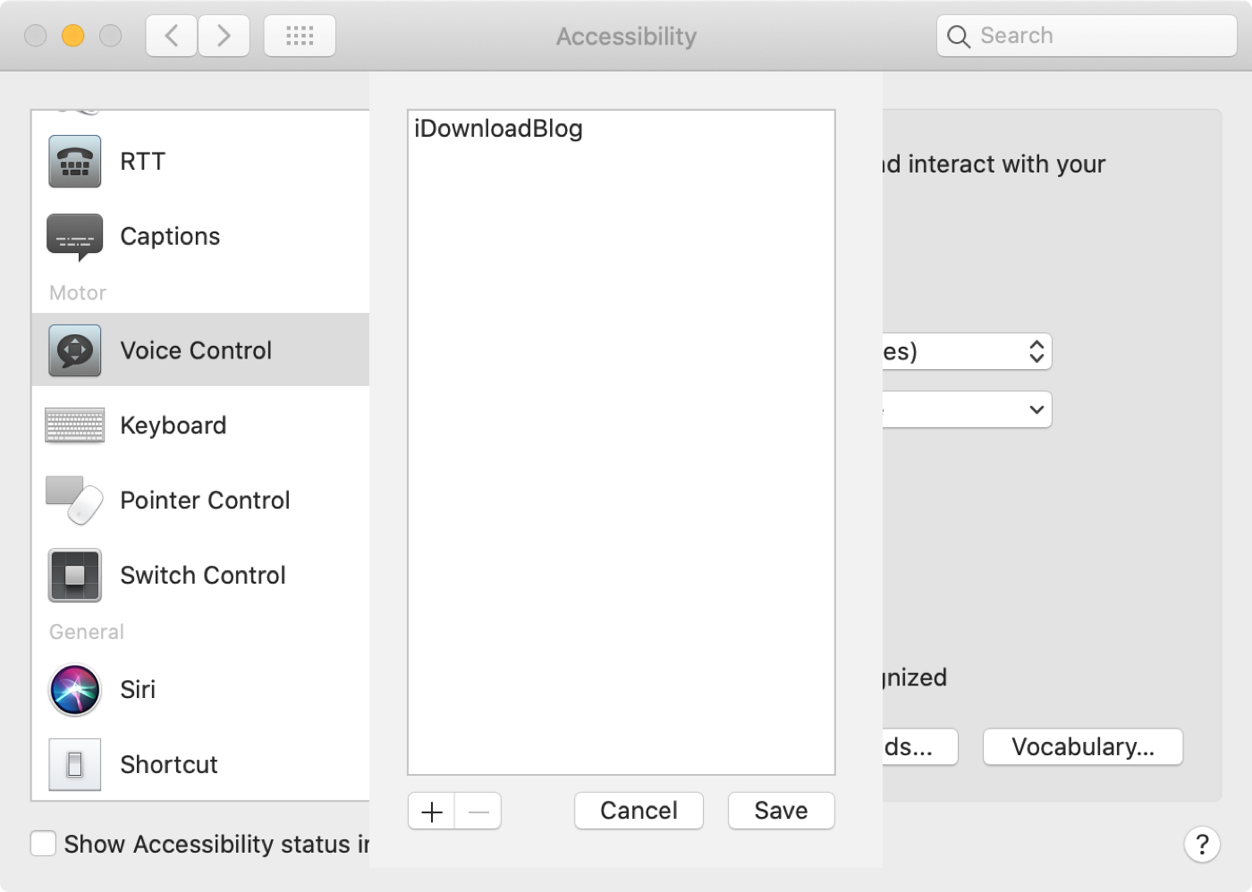 Voice Control Preferences Mac List Vocabulary