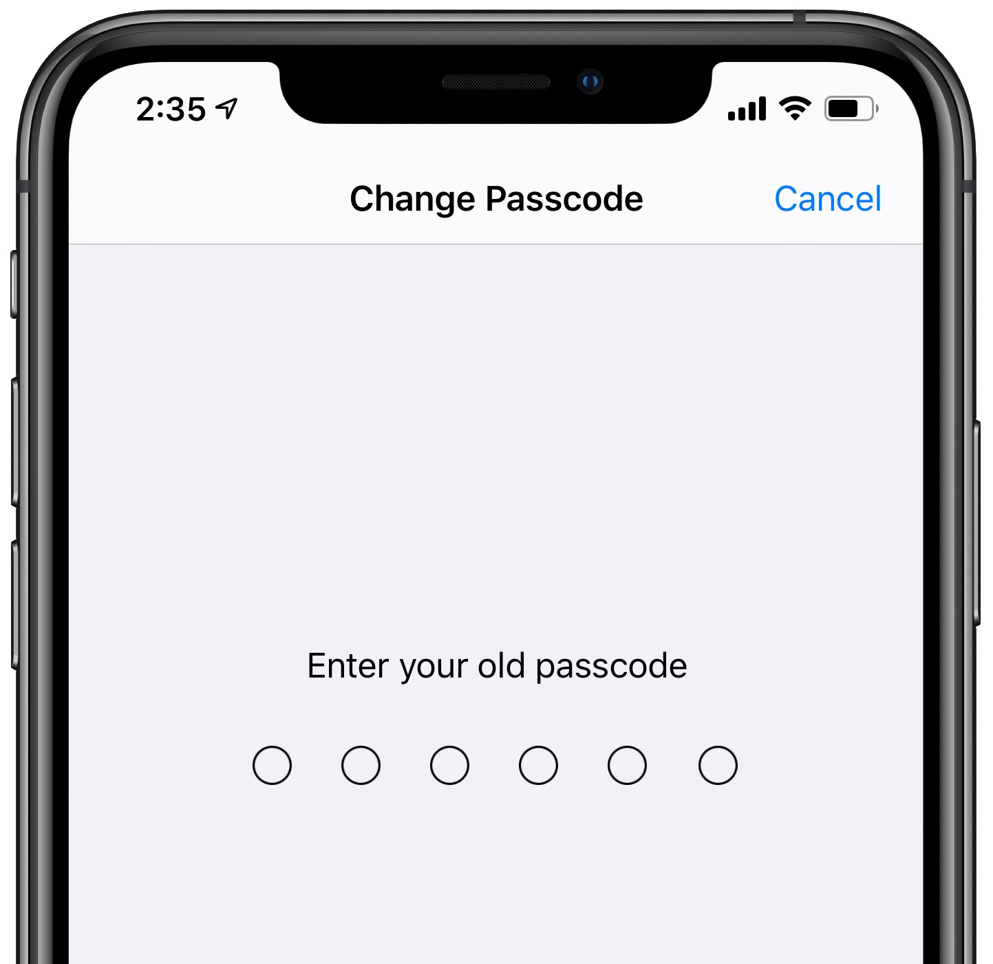 alphanumeric passcode iPhone