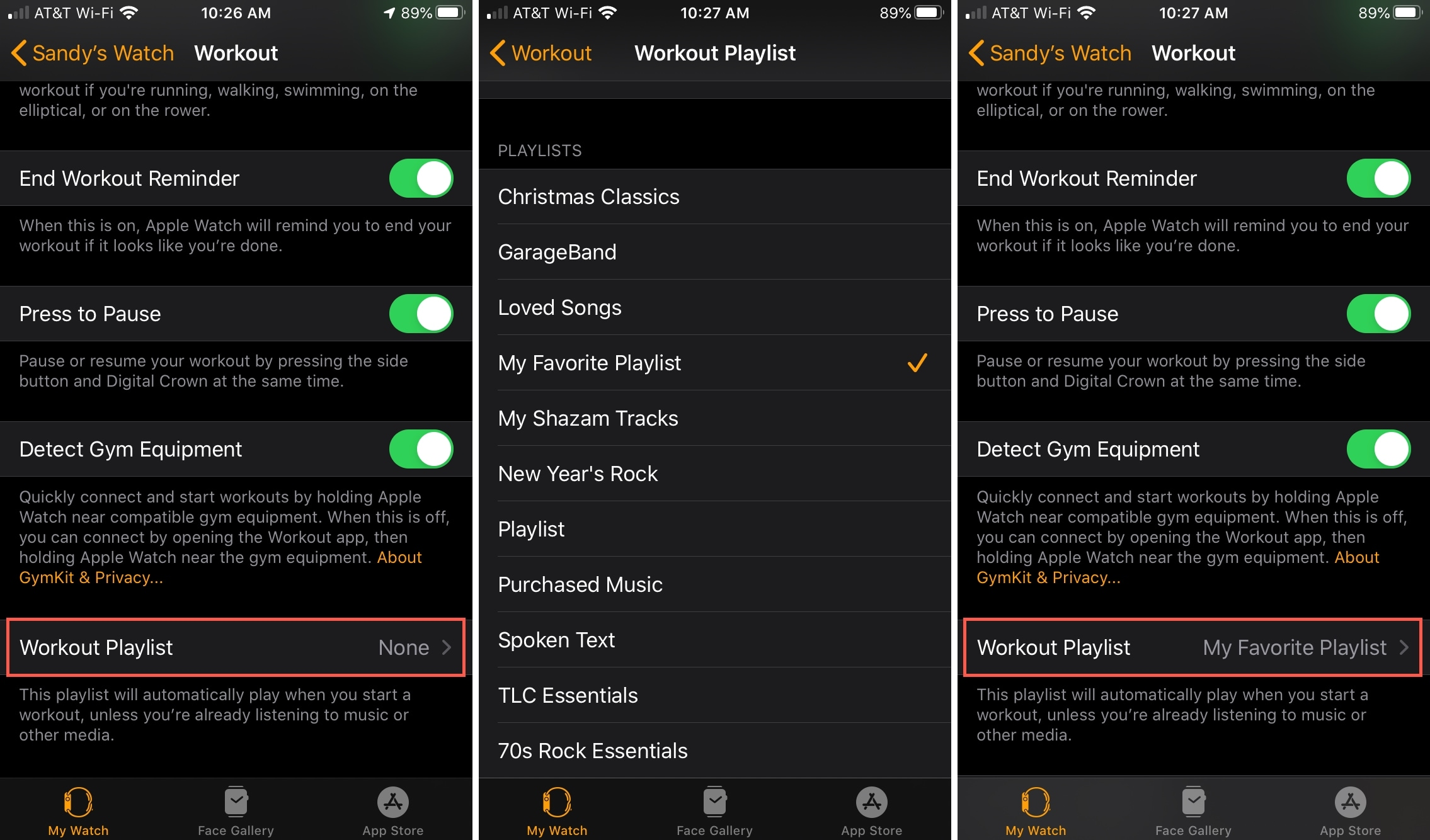 Add Workout Playlist on Apple Watch