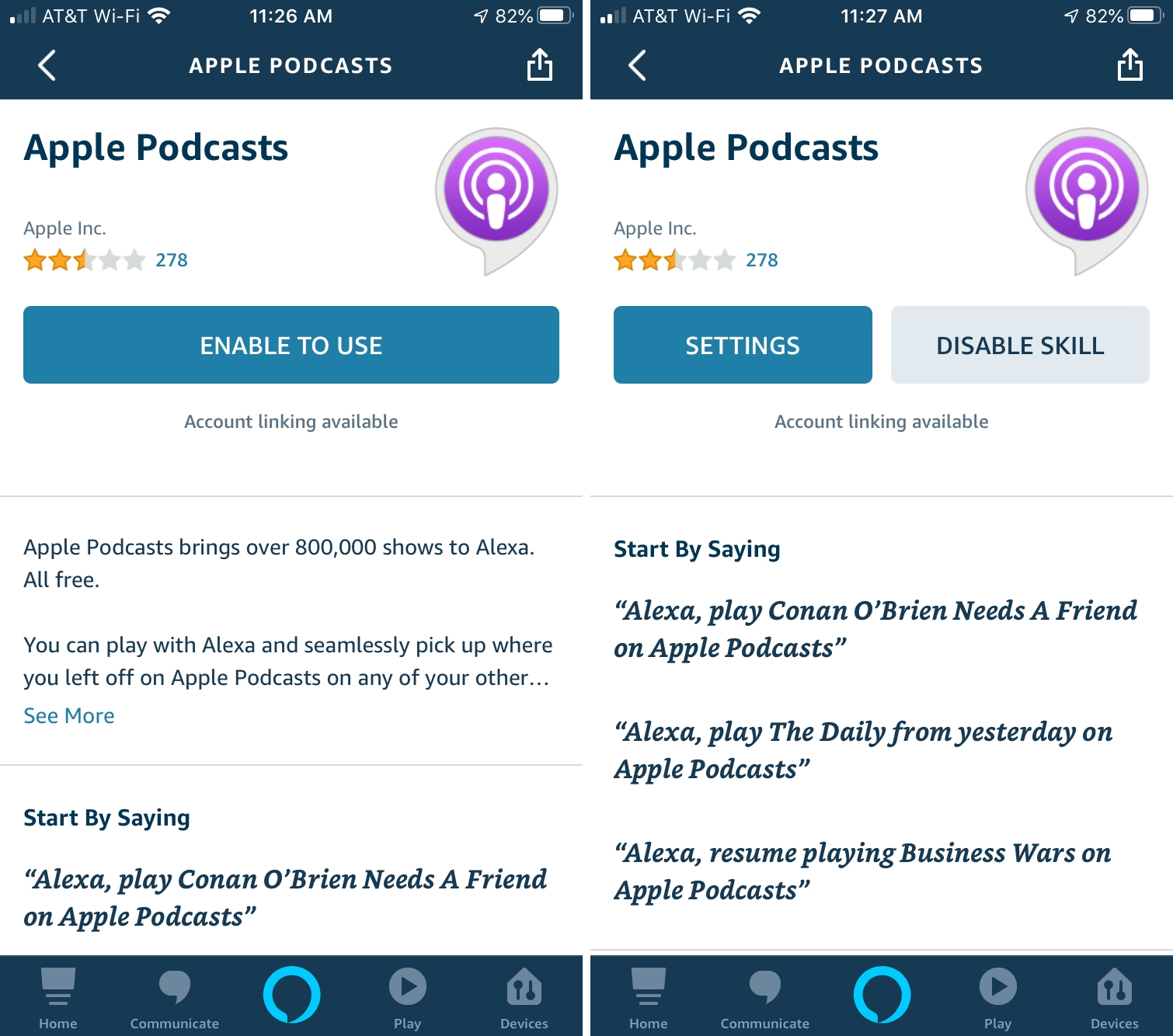 Alexa with Apple Podcasts iPhone