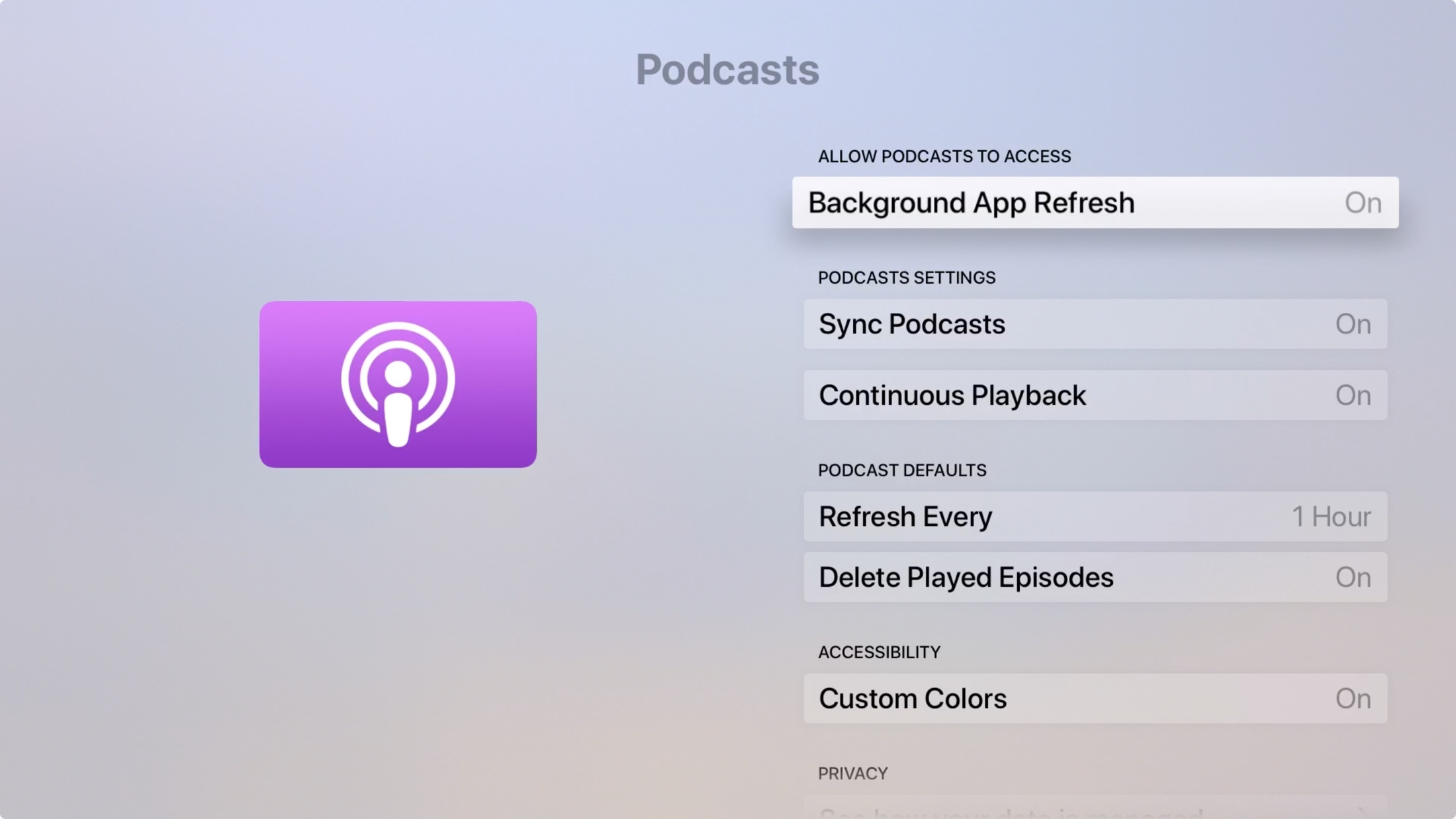 Apple TV Podcasts app