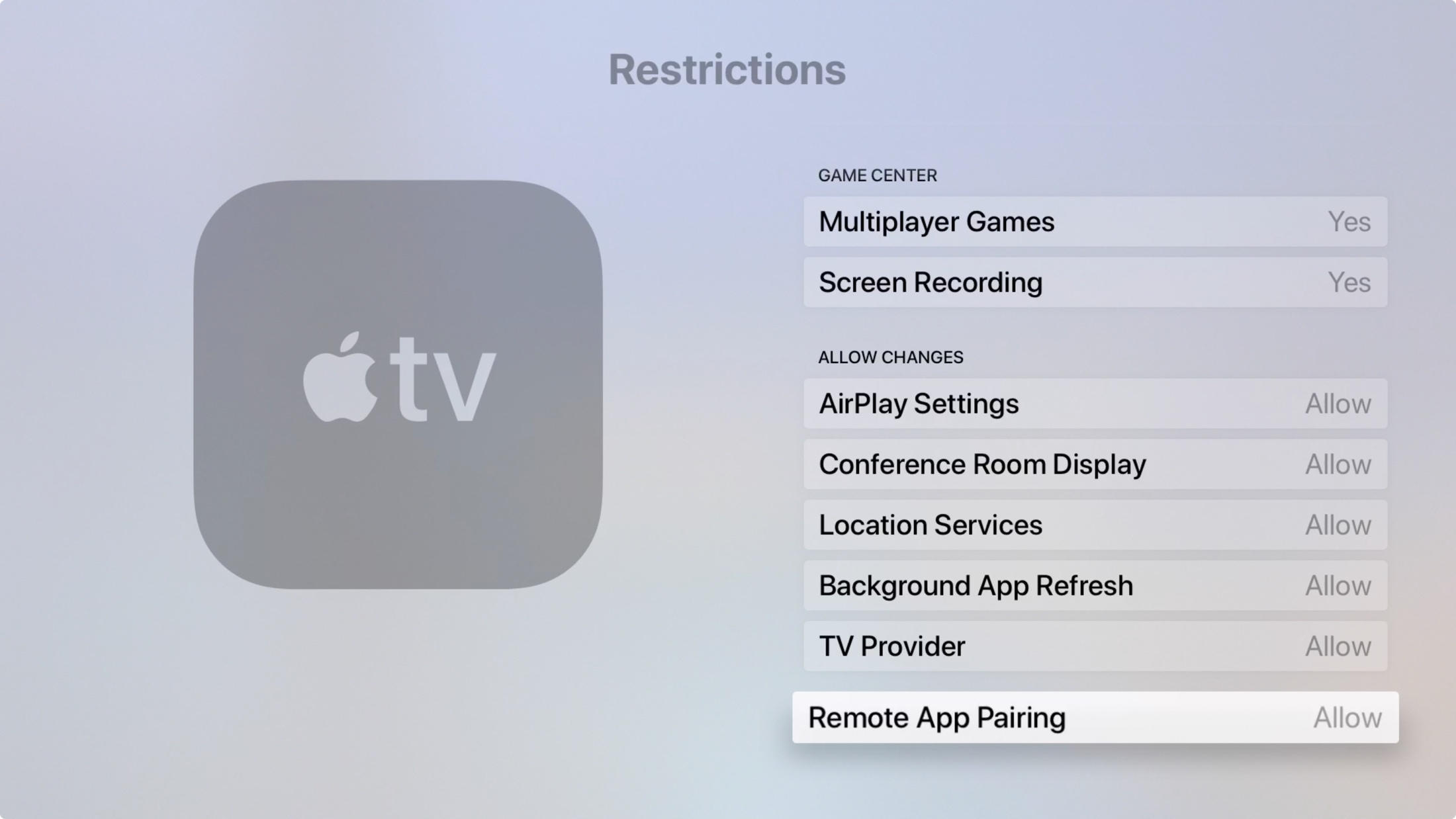 Apple TV Restrictions Allow Changes