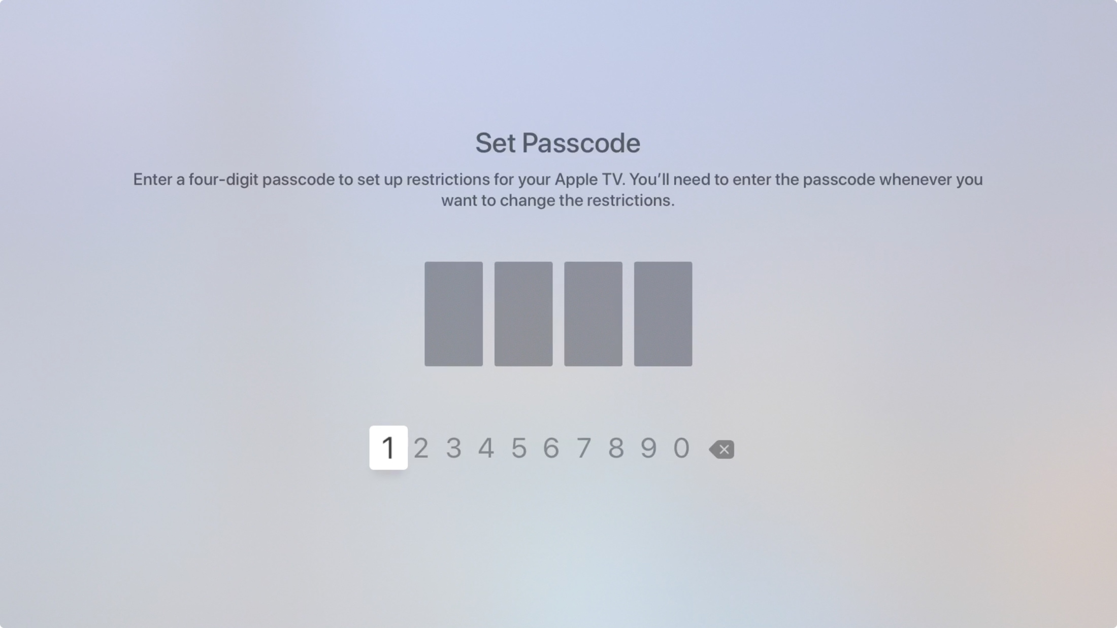 Apple TV Set Restrictions Passcode