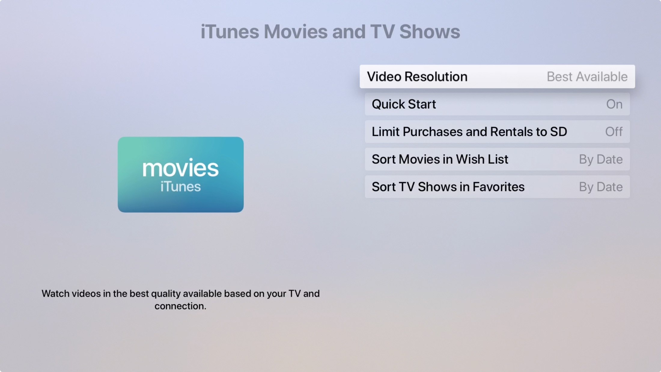 Apple TV iTunes app