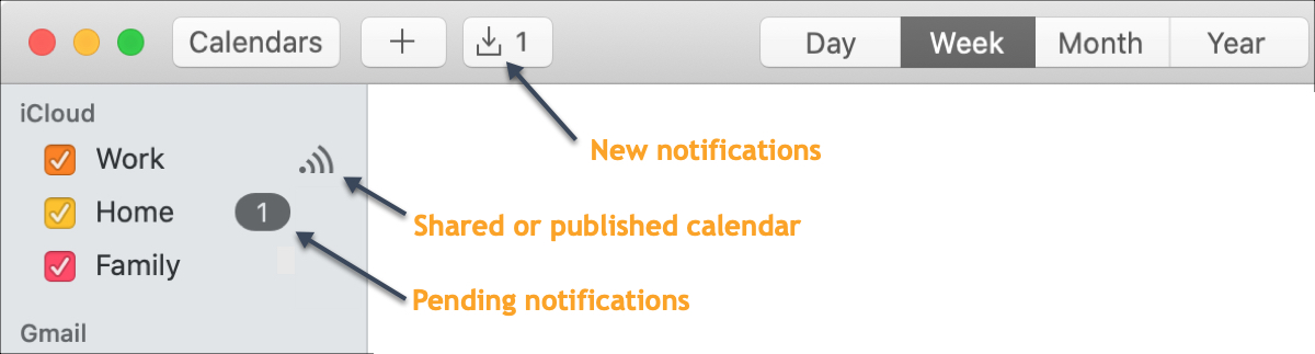 Calendar Mac Notifications Shared