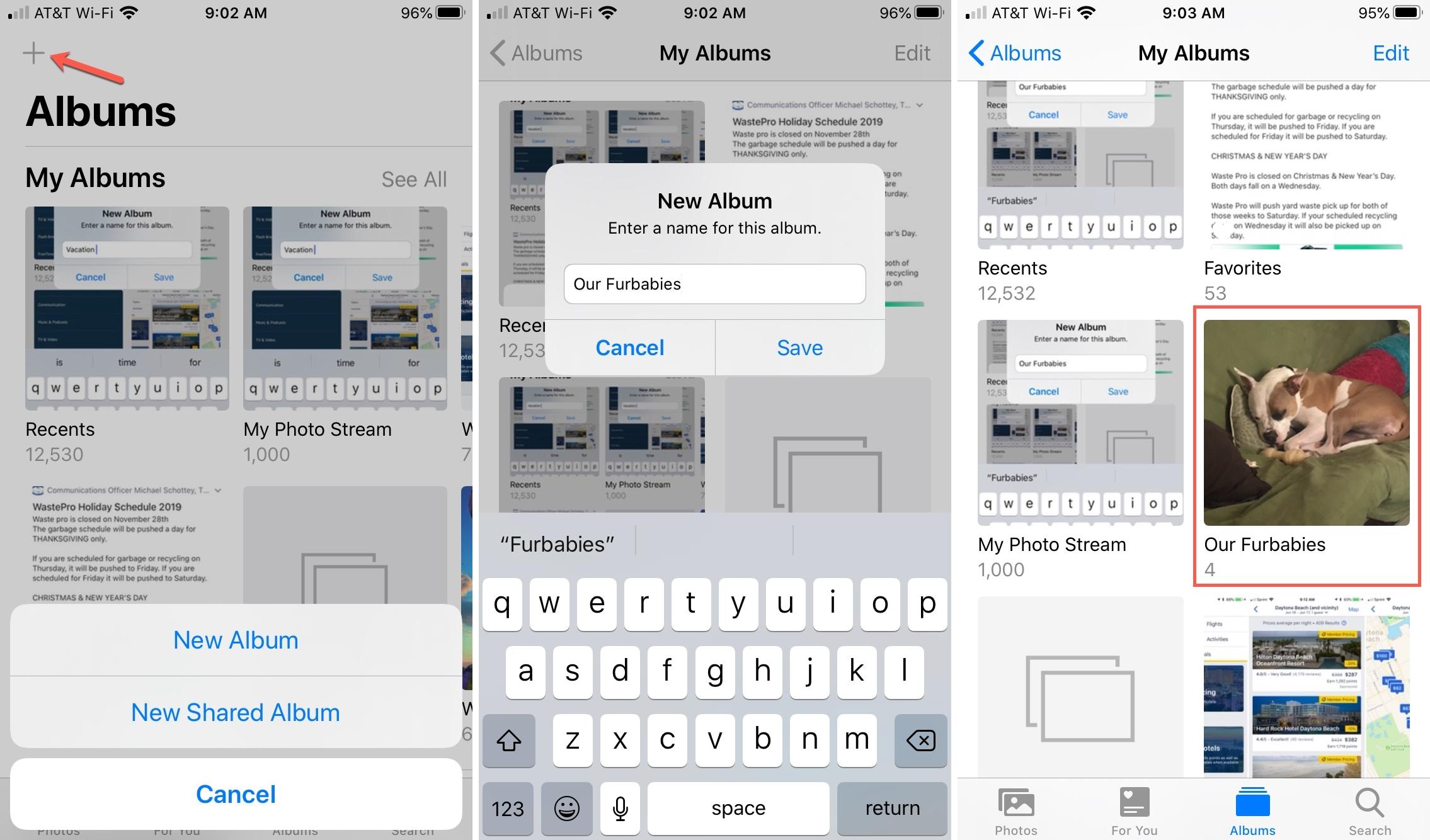 Create Album in Photos iPhone