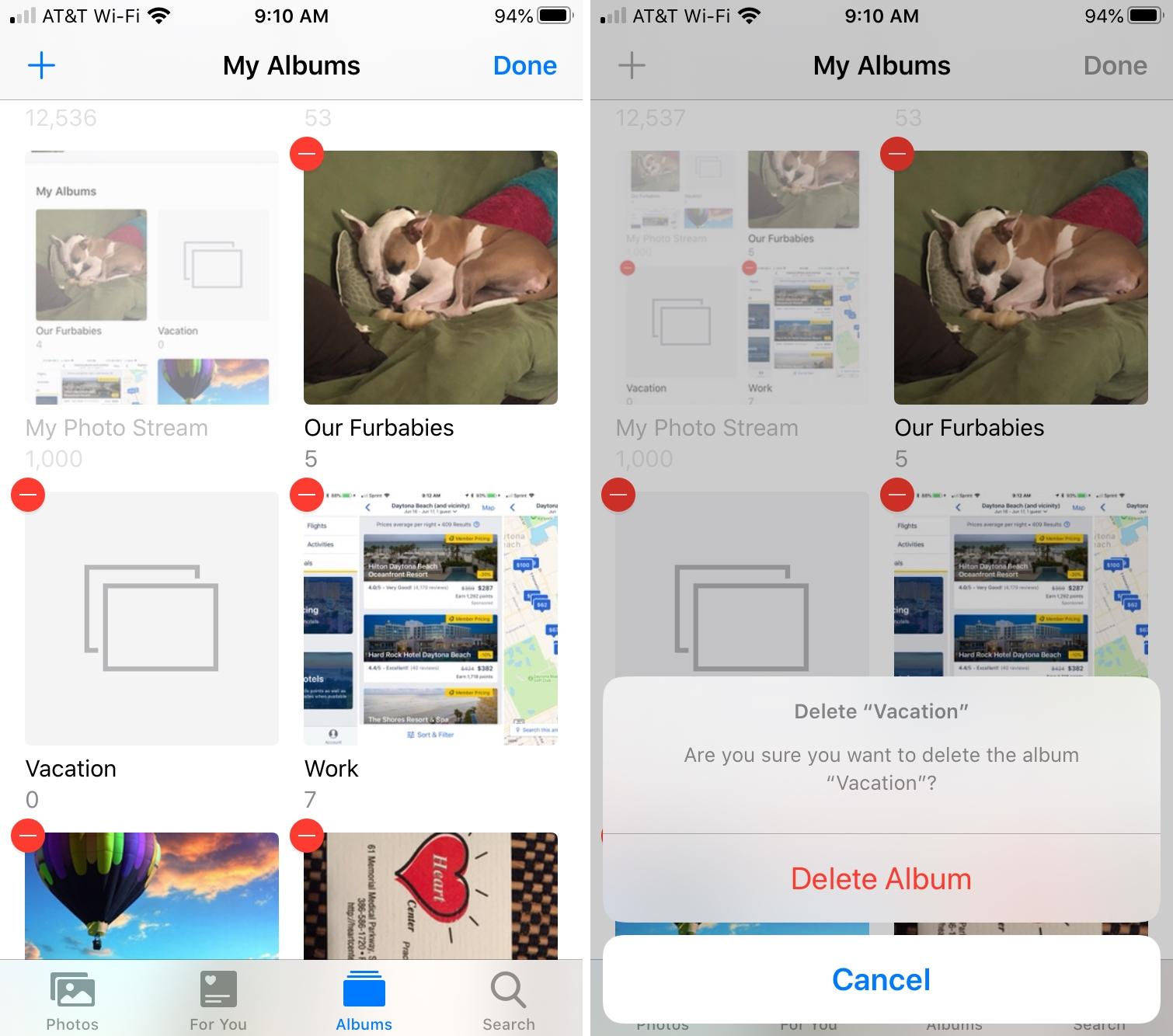 Delete Album in Photos iPhone