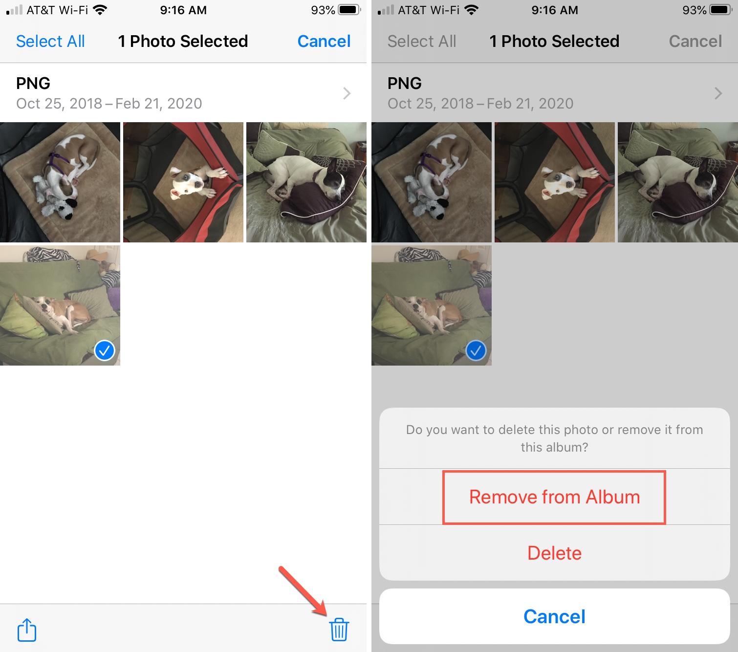 Delete Photo from Album in Photos iPhone