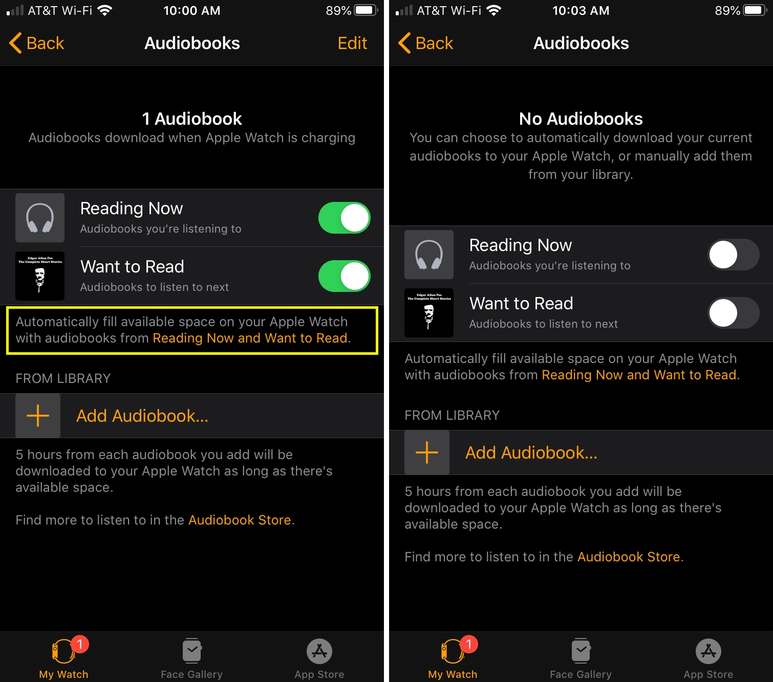 Disable Audiobook Downloads Apple Watch