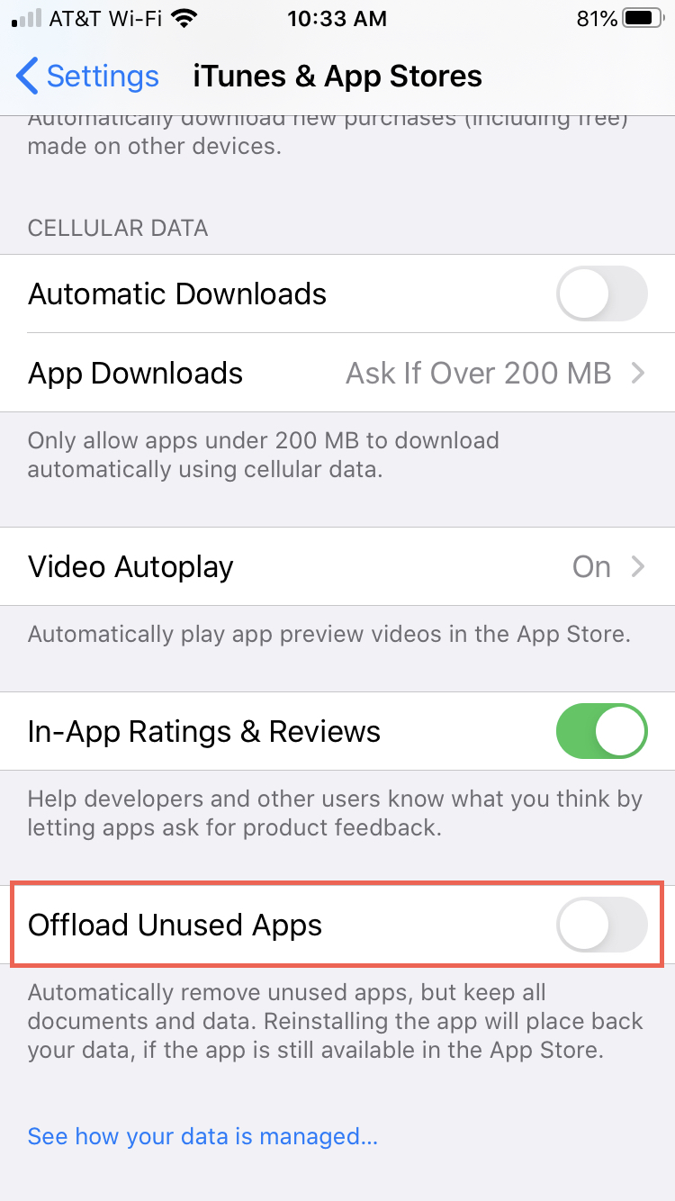 Disable Offload Unused Apps iPhone