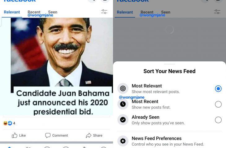 Facebook secara internal menguji peralihan yang mudah antara urutan Umpan Berita berurutan, kronologis, dan algoritmik 1