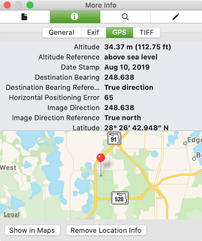 GPS Information Preview Photo