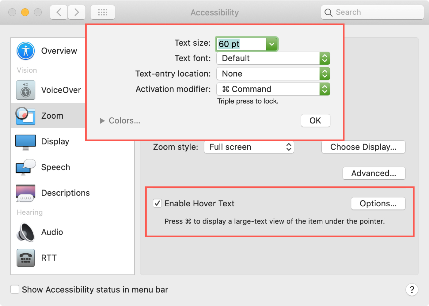 Mac Accessibility Enable Hover Text Options